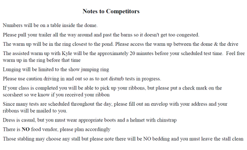 Notes to competitiors