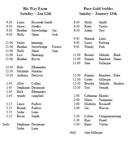 lesson schedule jan 12 - 13, 2019